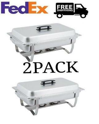 2 Pack Catering Stainless Steel Chafer Chafing Dish Sets 8 Qt Full Size Buffet