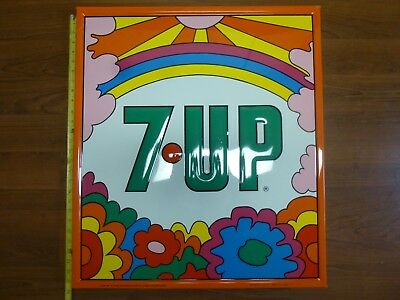 RARE Vintage 1970 PETER MAX Psychedelic Hippie 7-UP Soda Advertising Metal Sign