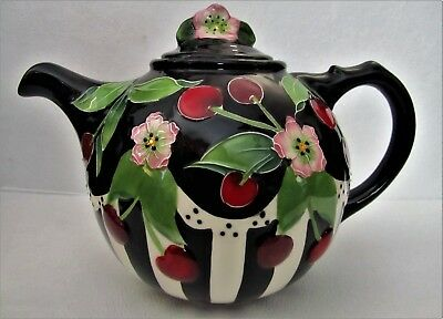Cherry Blossom Collectible Tea Pot by Artist Jeanette McCall Blue Sky Clayworks