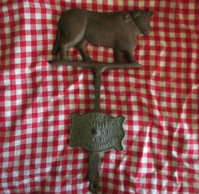 Cast Iron Cow Butcher Sign 19th century