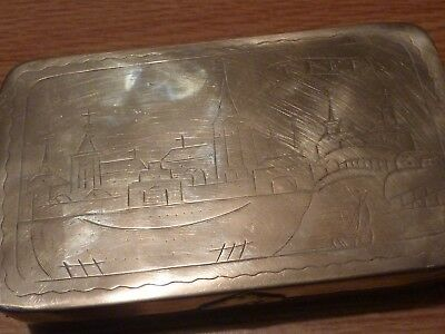 "Antique Dutch Brass  Tobacco/ Snuff box with engraved lid and base ""TIEL""."