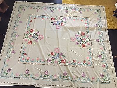 "Vintage Embroidered Cross Stitch Sheet, unfinished 85"" x 97"""