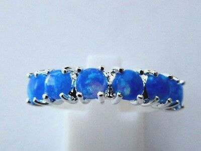 Dainty Silver Plated Ring With Gilson Opals In Blue Size P 1/2, US 8 (rg2417)