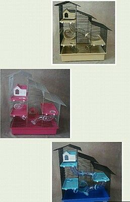 Large Cage for hamster or gerbil - with accessories  blue, beidge, pink