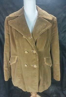 Vtg Retro Europe Craft Exclusive Light Brown Corduroy Lined Double Breasted Coat