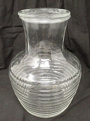Manhattan Horizontal Ribbed Carafe Art Deco Clear Vintage Depression Glass