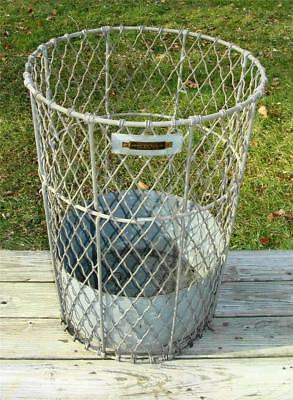 Antique Norwich Wire Works Inc. Industrial Galvanized Wire Trash Can, NICE!