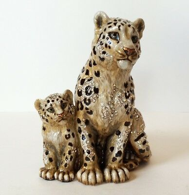 Jay Strongwater Mother And Baby Snow Leopards Figurine