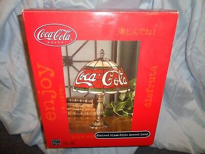 Vintage Coca-Cola Stained Glass Style Accent Lamp - Brand New! Coke