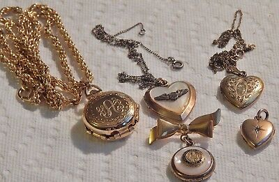 Vintage Lot Of Old Lockets  Gold Filled , Victorian Heart And More, 5 Pieces