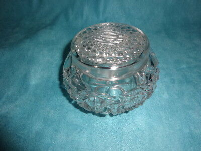 Antique Dresser Jar Powder Vanity Brilliant Cut/Pressed Starburst Glass Crystal