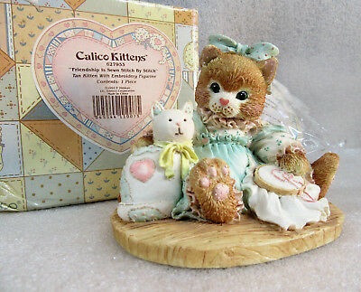 Calico Kittens ~ Friendship is Sewn Stitch by Stitch ~ Cat Kitty Figurine
