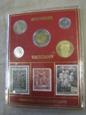 (BJStamps) VATICAN Souvenir John Paul II 5 coin set & 5 stamps on a card