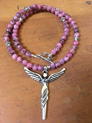 ॐCrystal Blissॐ Pink Jasper Necklace with Silver  Angel Pendant
