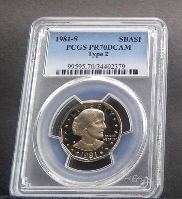 1981 $1 PCGS PR70DCAM TYPE TWO Susan B Anthony One Dollar SBA TOP REGISTRY coin