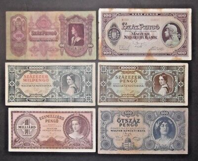 (1) Hungary Banknotes Lot Of 6 Notes Circ See Scans For Condition