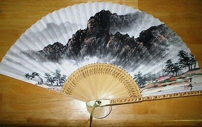 Korean Paper Bamboo Folding Hand Fan ASIAN Traditional MOUNTAIN CHINESE JAPANESE