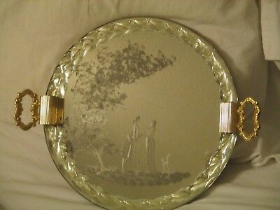 Antique Venetian Murano Glass Etched Mirror Vanity Tray w/Twisted Glass Rope