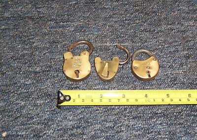 Vintage/antique small padlocks x 3 brass & metal no keys all used