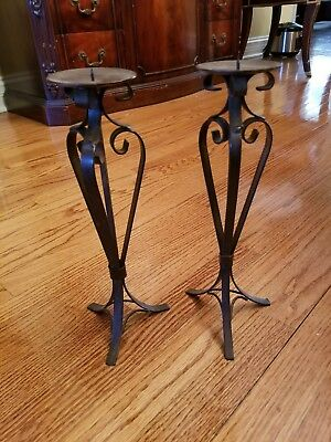 Vintage Brown Wrought Iron Candle Holders pair of 2 Swirl Design 3 Pronged Base