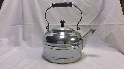 Vintage Revere Chrome Plated Tea Kettle with Wooden Handle