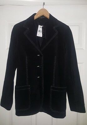 NWT Theory Suede leather Jacket Size Small Black with white stitching $460 NEW