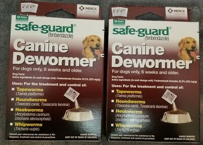 TWO BOX SafeGuard dewormer (fenbendazole) Dogs 40 lbs 4gm 3 Pack dose All Wormer