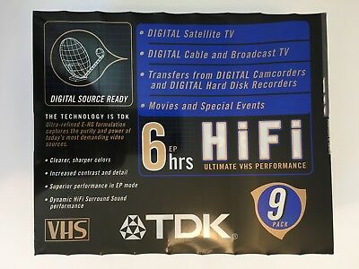 TDK (9 Pack) Extra High Grade E-HG T-120 6 Hour HiFi Blank VHS Tapes Sealed New
