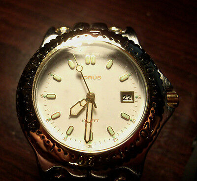 Vintage Lorus, Gold/silver Tone, Metal, Band Mens Sport Watch