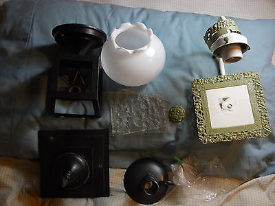 Lot of Antique Lamps, outdoor porch/carriage light & one antique bathroom light