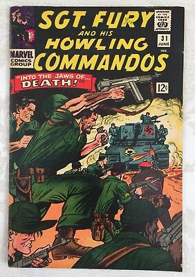 Marvel Comics # 31 Sergeant SGT. FURY Howling Commandos Into JAWS of Death NAZI