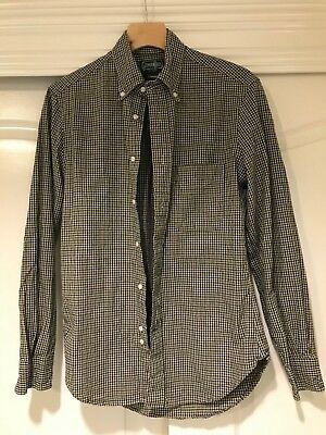 Gitman Vintage Navy Green Check Long Sleeve Shirt Size Small Made in USA