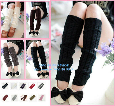 Women Winter Warm Knit Crochet Leg Warmers Leggings Stocking Knee High girls