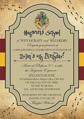 Personalised Harry Potter Birthday Party Invitations X 12