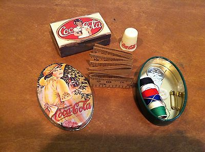 Vintage Coca-Cola Coke Advertising Sewing Kit Tin Box Thimble and Matchbox