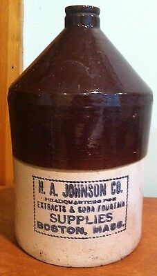 Antique Vintage Advertising Stoneware Jug H. A. Johnson Soda Fountain Syrup MA