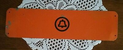 "~Vintage Bell System Telephone Symbol 15"" Bright Orange Metal Sign~"