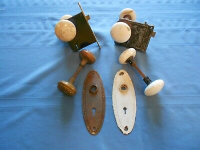 Vintage Lot of  Porcelain Door Knobs With Lock Plates (White & Brass)