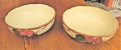"Two (2) Franciscan Apple Round Serving Bowls - 8 3/8"" wide - 1940's - Vegetable"