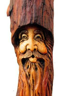 Tree Hobbit Wood Spirit Carving Log Home Gnome Cabin Art Sculpture Forest Face