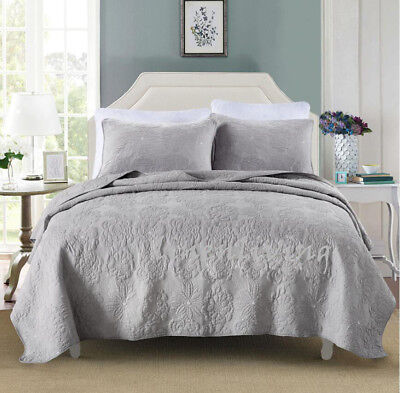 Reversible Quilted Cotton Coverlet Bedspread 3pc Set Queen King 230x250cm MP023