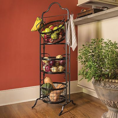 3-Tier Wrought-Iron Bushel Basket Laundry Kitchen Food Storage Rack Floor Stand