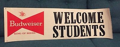 Vintage Budweiser Poster Banner Welcome Students 1965 Beer College Bud