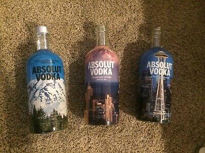 Absolut Vodka Opened Bottles  Seattle Set Of 3 Collectors Edition