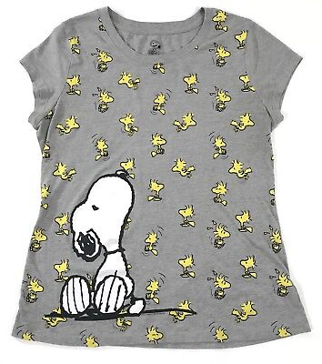 Peanuts By Schulz Womens Shirt Snoopy Woodstock Gray Top Blouse Size 2XL XXL(19)