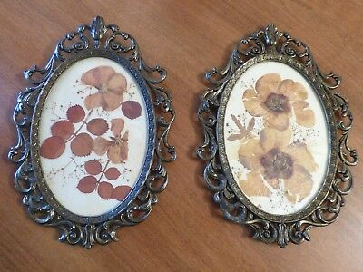 Vintage Antique Baroque Oval Photo Frames Italy Metal Ornate SET OF 2 Wall Decor