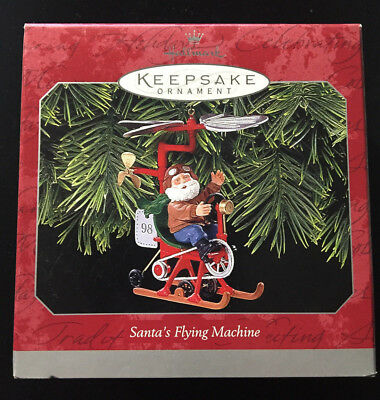 Hallmark Keepsake Christmas Ornament 1998 Santa's Flying Machine helicopter