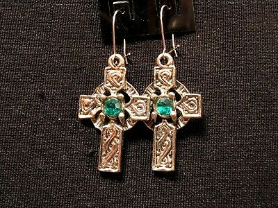 Celtic Cross Small Vintage Earrings With A Green Bead Goth Uk Import
