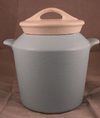 1957 Retro Hull Pottery Milk Can Grease Jar, matte light blue with white lid
