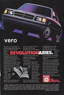 vintage DODGE ARIES 1984 print ad magazine page clipping car automobile advert